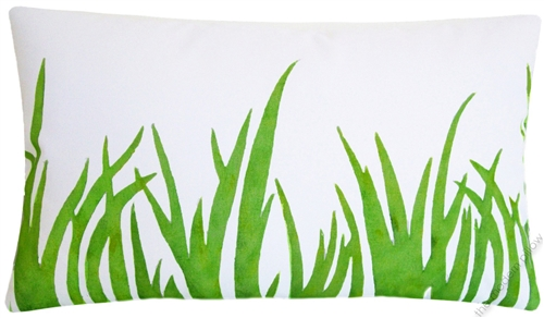 40x40 Organic Green Grasses Hand Painted Cotton Decorative Throw Best Hand Painted Pillow Covers
