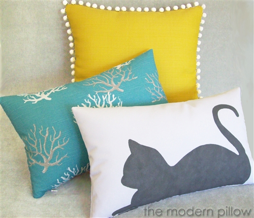 40x40 Gray Cat Hand Painted Decorative Throw Pillow CoverCushion Simple Hand Painted Decorative Pillows