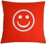 bright orange/white smiley decorative throw pillow cover