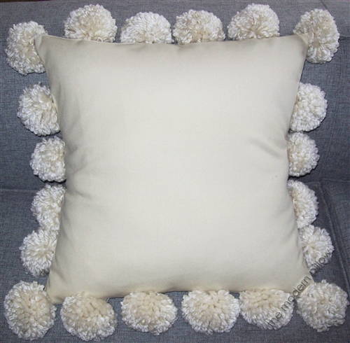 Natural Beige Cotton Canvas Large Pom Pom Decorative Throw Pillow
