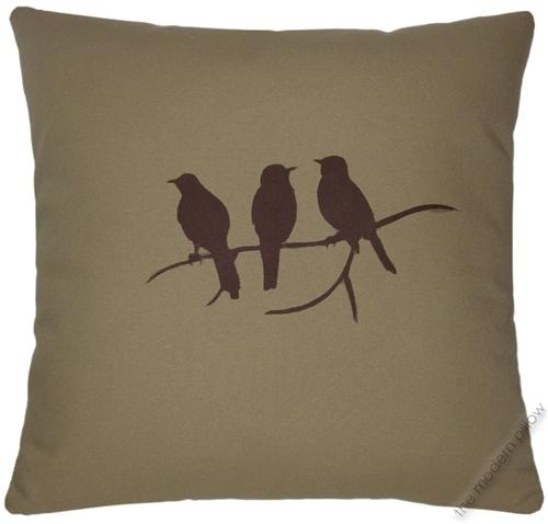 40x40 Khaki Green Birds On A Limb Decorative Throw Pillow Cover Extraordinary Decorative Throw Pillows With Birds