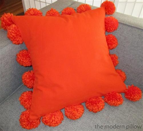 orange cotton pom pom decorative throw pillow cover