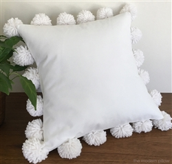 Organic Cotton Throw Pillow Inserts : White Organic Cotton Canvas Large Pom Pom Decorative Throw Pillow Cover / Cushion Cover