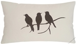 natural beige birds on a limb decorative throw pillow cover
