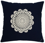 navy blue doily decorative throw pillow cover