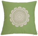 avocado green doily decorative throw pillow cover