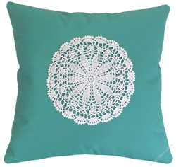 aqua doily decorative throw pillow cover