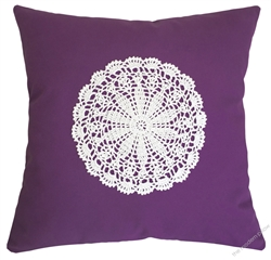 purple violet doily decorative throw pillow cover