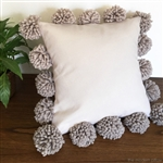 natural beige pom pom throw pillow
