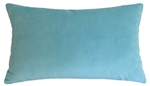 aqua blue velvet suede decorative throw pillow cover