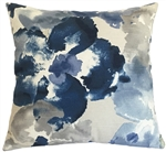 blue watercolor floral decorative throw pillow cover