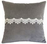 gray velvet w/ lace decorative throw pillow cover