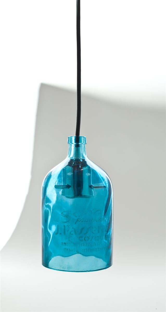 blue seltzer pendant light
