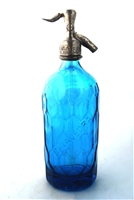 Saavedra Blue Vintage Seltzer Bottle | The Seltzer Shop | Colored Argentine seltzer bottle - vintage seltzer pendant light - wine chiller interior design elements