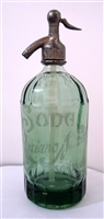 Acid Etched 1 Liter Clear Vintage Seltzer Bottle