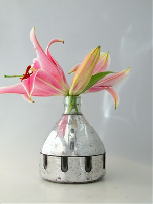 Triple Recycled Bud Vase Metal | The Seltzer Shop | Colored Argentine seltzer bottle - vintage seltzer pendant light - wine chiller interior design elements