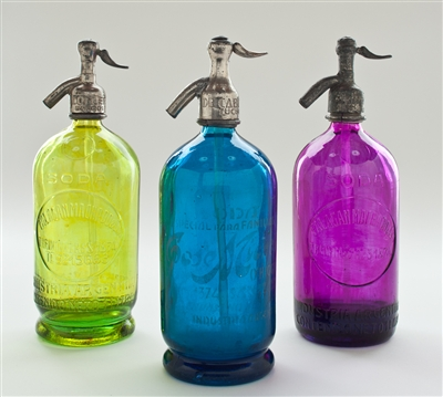 Collection II Splash of Color Vintage Seltzer Bottles | The Seltzer Shop | Colored Argentine seltzer bottle - vintage seltzer pendant light - wine chiller interior design elements