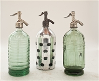 Collection VIII Vintage Seltzer Bottles | The Seltzer Shop | Colored Argentine seltzer bottle - vintage seltzer pendant light - wine chiller interior design elements