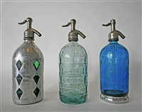 Collection XV Vintage Seltzer Bottles | The Seltzer Shop | Colored Argentine seltzer bottle - vintage seltzer pendant light - wine chiller interior design elements