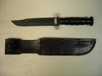USMC  COMBAT KNIFE WITH LEATHER SCABBARD
