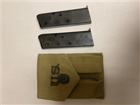 US GI WWII COLT 45 MAGAZINE POUCH WWII DATED WITH TWO 7 ROUND MAGAZINES