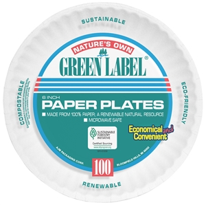 Green Label Plate Paper 6 Retail Pack White  - 6 in.