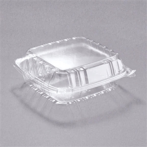 Clear 1 Compartment Medium Hinged Lid Container - 8.25 in. x 8.25 in. x 3 in.