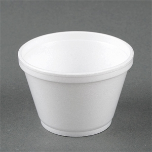 White Squat Foam Food Container - 6 oz.
