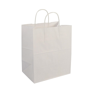Bistro Rope Handle White Shopping Bag - 10 in. x 6.75 in. x 12 in.