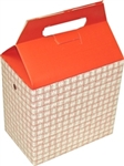 Red Plaid Medium Auto-Bottom Handled Take Out Carton - 5 in. x 8 in. x 8 in.