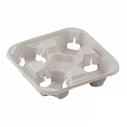 StrongHolder Molded Fiber Flight 4 Cup Pulp Carry Tray - 8.5 in.