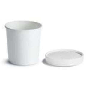 Tall Food Container with Paper Vented Lid White - 16 Oz.