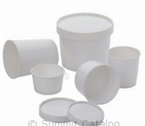 Paper Food Container White with Vented Paper Lid - 32 Oz.