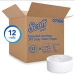 Scott Coreless Jumbo Roll 2 Ply Bathroom Tissue - 3.78 in. x 1150 ft.