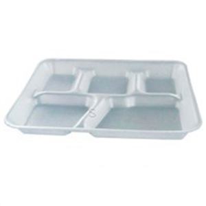 White Foam 5 Compartment School Lunch Tray - 8.25 in. x 10.25 in.
