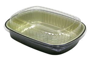 Black and Gold Carry Out Tray and Combo - 46 oz.