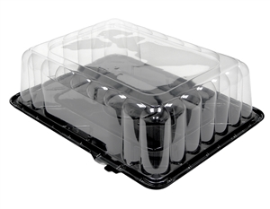 Black Base and Clear Dome Quarter Sheet Plastic Cake Combo - 4.25 in.