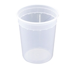Clear Plastic Deli Cup Combo Pack with Lid - 32 oz.