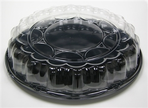 Black Smartlock Caterware Flat Tray with Clear Dome - 18 in.