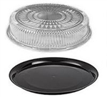 Flat Catering Tray Combo Black Base and Dome - 16 in. x 2.75 in.