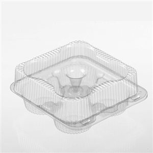 Hinged Plastic Muffin Cupcake Container - 7.68 in. x 8.19 in. x 3.31 in.