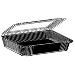 Shallow PETE Hinged Plastic Container - 6.25 in. x 4.88 in. x 1.5 in.