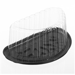 Black Base Clear Dome for 8 in. Half Cake - 9.31 in. x 5.38 in.