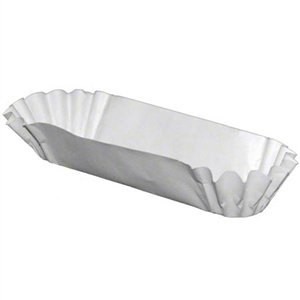 White Medium Weight Hot Dog Tray - 8 in.