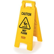 Yellow 2 Sided Floor Sign With Caution Wet Floor - 25 in. x 26 in. x 11 in.