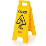Caution 2 Sided Yellow Floor Sign Multilingual - 26 in. x 11 in.