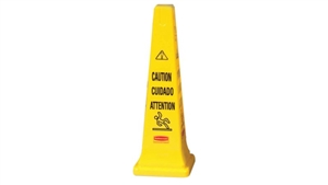Safety Cone with Multi-Lingual Caution Imprint Yellow - 36 in.