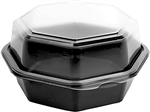 Black and Clear Octaview 1 Compartment Deep Hinged Container - 18 oz.