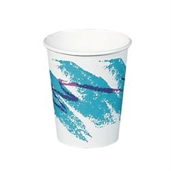 Tri-Lingual Single Sided Poly Jazz Paper Hot Cup - 8 oz.