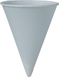 White Rolled Rim Water Cone Cup - 4 oz.